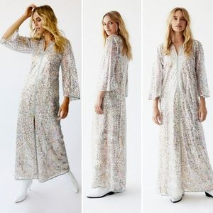 Anna Sui + FP 100% Silk Rainbow Sequin Kaftan Maxi
